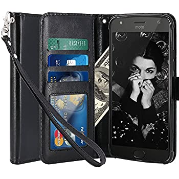 Moto X4 Case, LK Luxury PU Leather Wallet Flip Protective Case Cover with Card Slots and Stand for Motorola Moto X4 (Black)