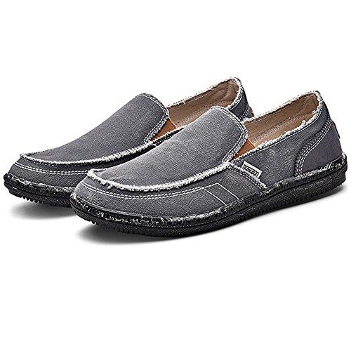 Slip Boat Casual Lightweight Canvas Deck Loafers Flat LANCROP On Grey 8701 Shoes Men's fgw8x5qA