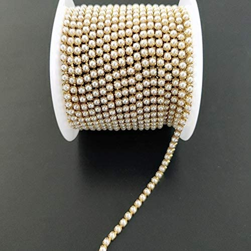 Amazon.com: Xuccus 10yards/Roll Pearl Chain Crystal Glass 2mm -3mm Gold/Silver Base Cup Close Rhinestone Chain Apparel Sewing Style DIY Clothes - (Color: Gold Base, Size: 3mm, Number of Pcs: 5yards)