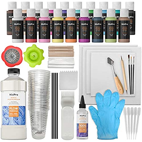 Nicpro Acrylic Pouring Art Supplies, Pouring Medium Starter Kit, 19 Colors Acrylic Paints with Pour Oil, 4 Pack Canvases, Cups, Mixing Sticks, Gloves, Strainers, Brushes, Dotting Pen for Painting