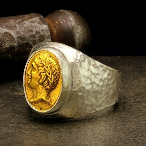 (Mens Signet Coin Ring 925 Sterling Silver 24K Gold Vermeil Coin Handcrafted Hammered Two Tone Hand Forged Ancient Roman Byzantium Greek Art Ring)
