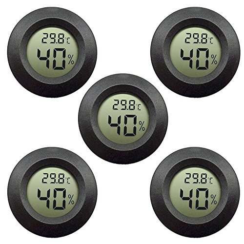 Price comparison product image 5-pack EEEkit Hygrometer Thermometer Digital LCD Monitor Indoor Outdoor Humidity Meter Gauge for Humidifiers Dehumidifiers Greenhouse Basement Babyroom,  Black Round