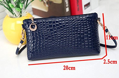 à Bleu Femmes Tonsee Sac main Crocodile Messenger épaule Noir Leather main Clutch Crossbody à Mode Sac t1PqwPZ