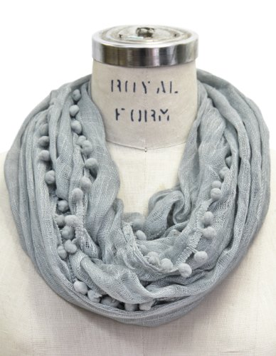 - Scarfand's Light Weight Solid Viscose Scarf (PomPom Gray)