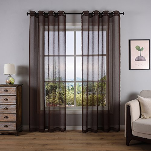 DWCN Brown Semi Sheer Curtains for Living Room Bedroom Faux Linen Look Voile Drapes Grommet Top Window Curtain Panel 52 x 84 Inch Long ,Set of 2 (Semi Sheer Door Curtain Panel)