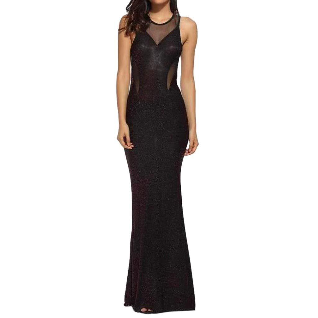 Evening Dress, Sexy Womens See Through Sleeveless Mesh Backless Bodycon Long Maxi Dress (XL, Red) by HUAMING