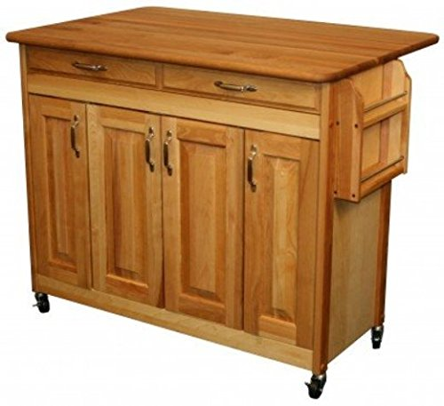 - Catskill 754228 Butcher Block Island With Raised Panel Drs. & Drop Leaf One Size Brown