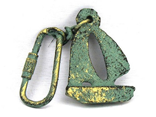 Handcrafted Decor K-49015D-bronze Antique Bronze Cast Iron Sailboat Key Chain44; 5 in.
