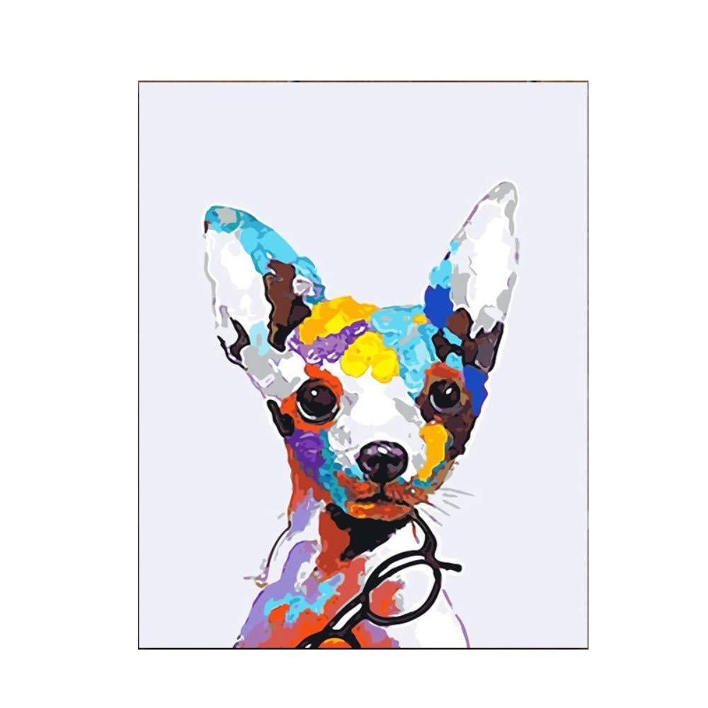 Yyboo DIY Malen Nach Zahlen Digital Canvas Ölgemälde Geschenk Erwachsene Kinder Kits Home Decorators - Hund (Holzrahmen) B07PGPH8QT | Wir haben von unseren Kunden Lob erhalten.