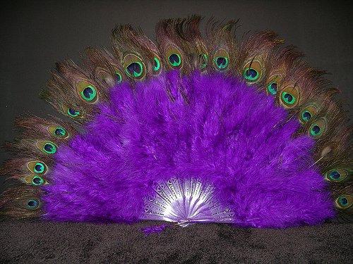 [Marabou Feather Fan w/ Peacock - PURPLE 24