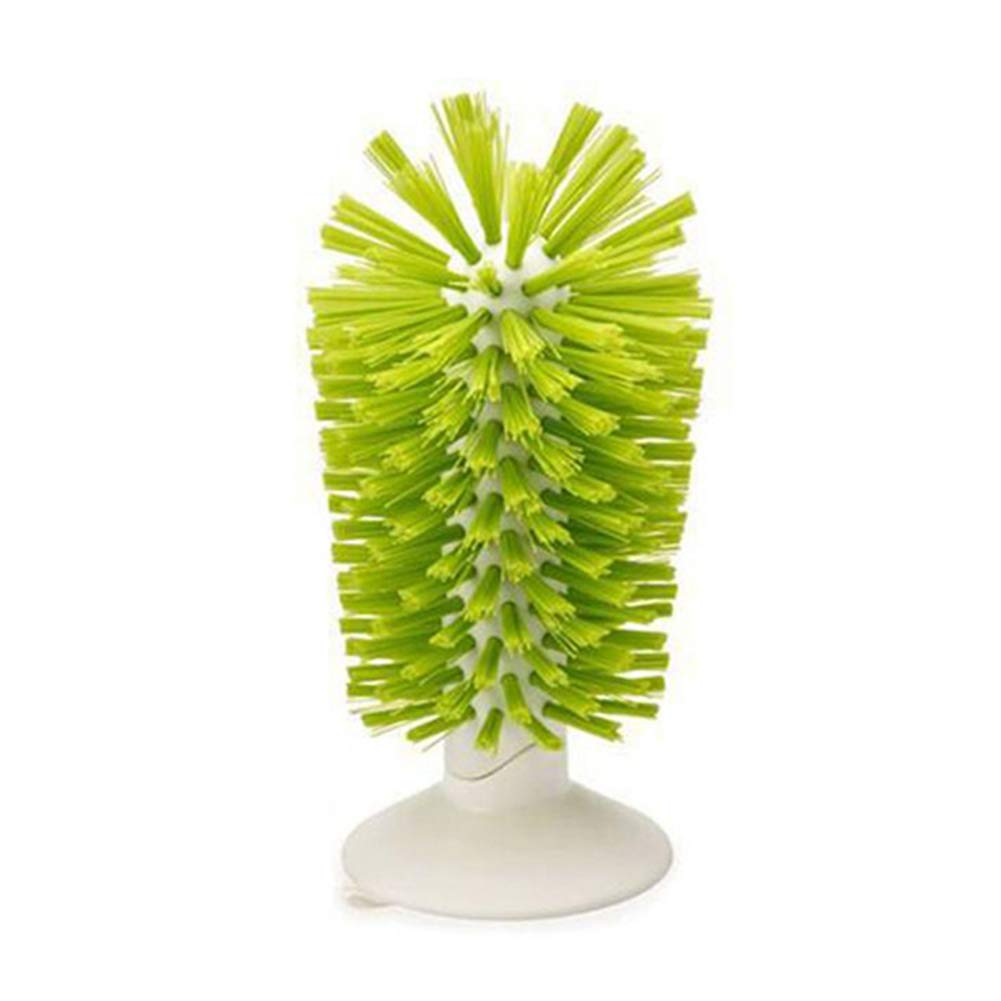 Standing Bottle Brush Scrubber Wine Glass Washer with Strong Suction Cup Base Green Aszune