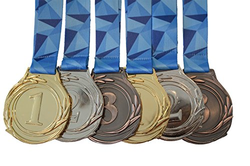 Intricate Metal - Bulk Award Medals, Olympic Style, Gold Silver Bronze (Set of 6), Premium Metal and Ribbon, Prize for Events, Classrooms, or Office Games, 1st 2nd 3rd Place
