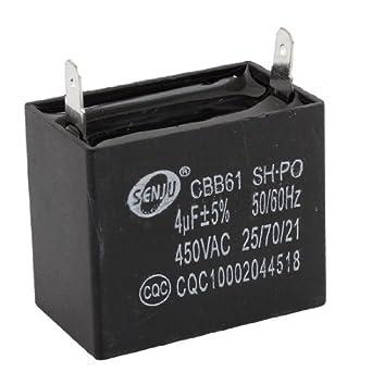 CBB61 4uF 450V AC acondicionador de aire del motor del ventilador Running Capacitor Negro: Amazon.es: Industria, empresas y ciencia