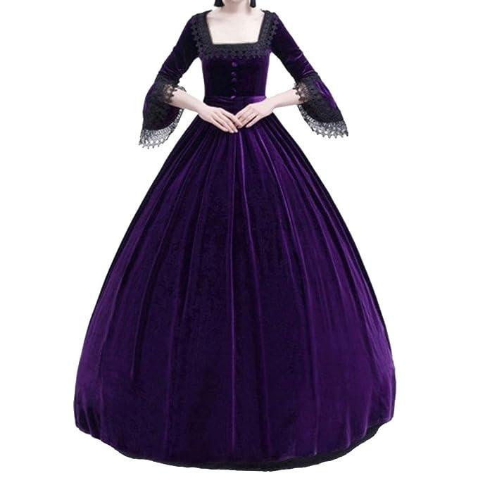 Mujeres Vestido Largo Vintage Traje Medieval Mujer Fiesta ...