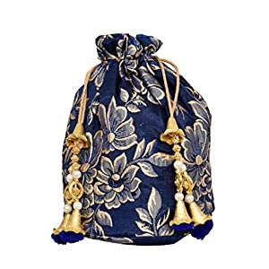 Sushila Krishna Creations Designer Royal Blue Ethnic Silk Potli Batwa Pouch Bag With Embroidered | Women'S Hand Bag…