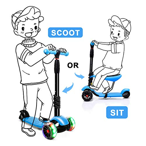 XJD 3-in-1 Kick Scooter Toddler Scooter with Removable Seat Great for Kids Boys Girls Adjustable Height Extra-Wide Deck PU Flashing Wheels Children from 2 to 14 Year-Old (Dark Blue) -