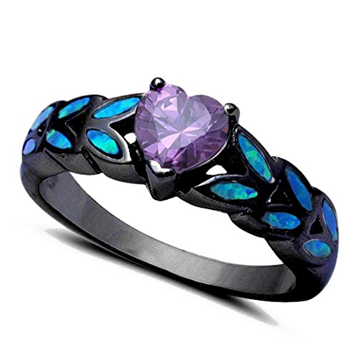 Heart Ring Simulated Purple Amethyst Created Blue Opal Accent Black Tone 925 Sterling Silver, Size - 7