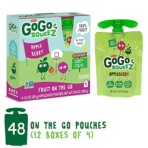 GoGo squeeZ Applesauce on the Go, Apple Berry, 3.2-Ounce Portable BPA-Free Pouches, Pack of 48 (12 Boxes with 4 Portable BPA-Free Pouches Each)
