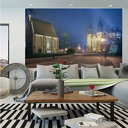 SoSung Gothic Removable Wall Mural,Gothic Medieval Middle Age Churches Cathedral Island with Night Lights Photo Print,Self-Adhesive Large Wallpaper for Home Decor 66x96 inches,Navy Brown