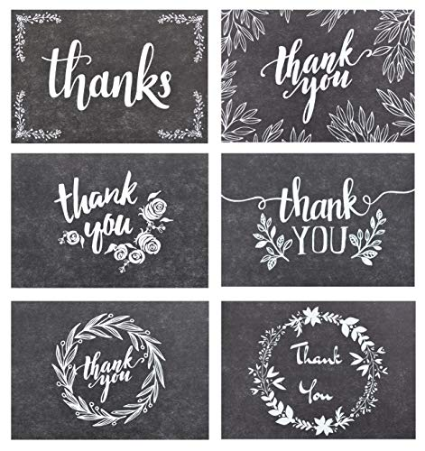 (120 Elegant Black and White Chalkboard Kraft Thank You Cards with Kraft Envelopes and Stickers - 6 Designs Bulk Notes with White Letters for Weddings, Business, Formal and All Occasions)