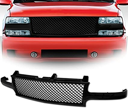 IKON MOTORSPRTS 2004 2005 Grille Compatible With 2003-2006 Chevrolet Silverado 1500 2500 3500 Front Bumper Hood Mesh Grill Matte Black