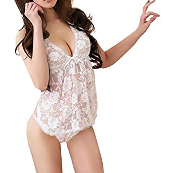 Black Temptation Womens XM007 Snowy Floral Sheer Babydoll OpenCrotch White