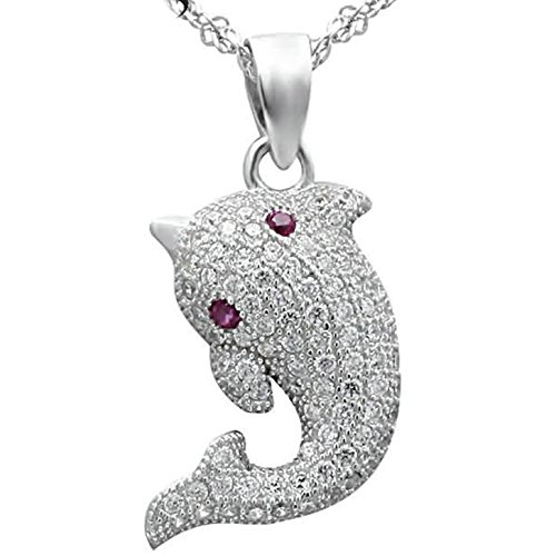 Epinki Women Girls 925 Sterling Silver Necklace Dolphin Pave Cubic Zirconia White