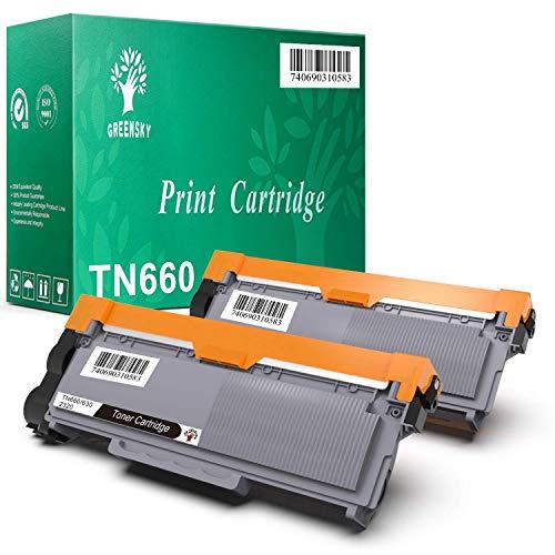 GREENSKY Compatible Toner Cartridge Replacement for Brother TN660 TN630 DCP-2560DN MFC-L2707DW MFC-L2700DW HL-L2380DW DCP-L2540DW HL2340DW MFC-L2740DW MFC-L2685DW HL-L2300D Printer (Black, 2-Pack)
