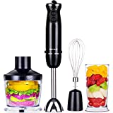 VECELO 700W Premium 4-in-1 Immersion Hand Blender Set with Food Processor Chopper Egg Whisk 500ml Beaker 6 Variable Speeds - Black