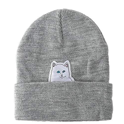 (Cat Pattern Women's Hat Headgear Women Beanies Knitting Cap Men's Braid Hats Middle Finger Winter Warm Gray)