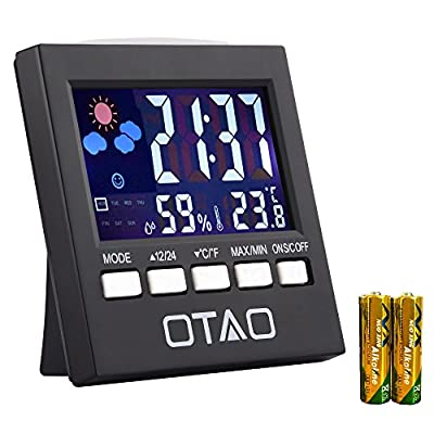 Otao Indoor Thermometer Hygrometer Humidity Monitor Backlight Digital Temperature Gauge Humidity Meter with Clock(2 Batteries Included)