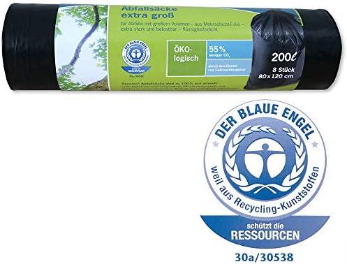 Secolan Müllsack/Gartenabfallsack 200L – ✓extra groß ✓extra stark ✓100% recyclingfähig – 1 Rolle/8 St