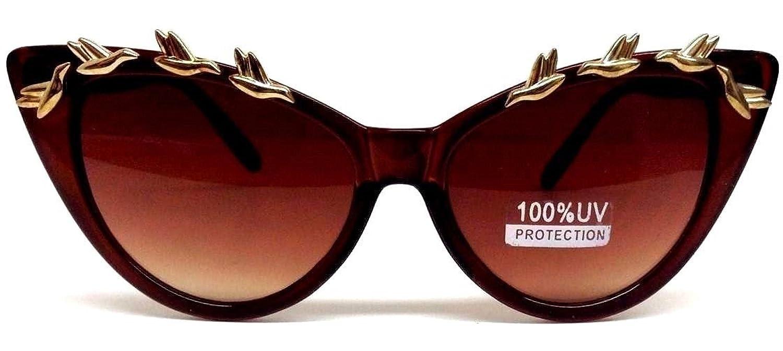 Brown Cat Eye Gold Birds Sunglasses