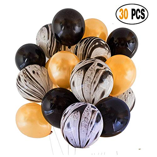 Divine 30 Pcs/lot Party Decorations Set Combined Balloons, Black Agate Marble Tie Dye Swirl Black and Gold Latex Balloons for Wedding Birthday Baby Showers Christmas Festival Ceremony and (Gold Black Agate)
