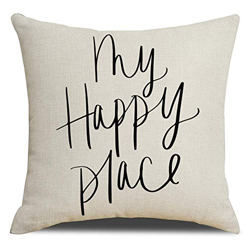 (KACOPOL Rustic Farmhouse Style My Happy Place Quotes Pillow Covers Home Decorative Throw Pillow Case Cushion Cover Housewarming Gifts for The Home 18