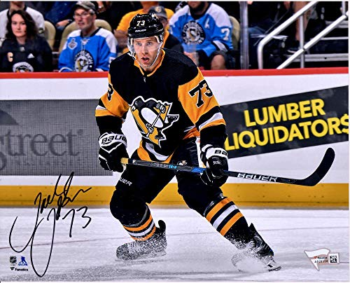 """Jack Johnson Pittsburgh Penguins Autographed 8"""" x 10"""" Black Jersey Skating Photograph - Fanatics Authentic Certified"""