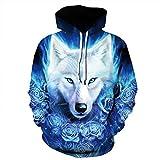 Men's Hooded Long Sleeve 3D Digital Print Ice Wolf Couple Pullover Hoodies Fashion Hoodies Baseball Outwear(M,Blue)