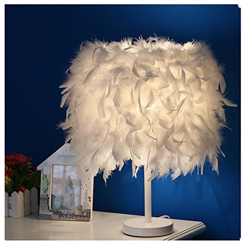 ARDUX LED Table Lamp, White Feather Deco Night Light Bedside Table Lamp for Living Room Bedroom Home Bookroom Decoration (Warm White)