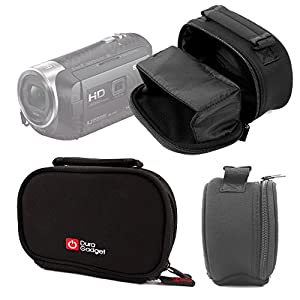 DURAGADGET Black Neoprene Lightweight Zip-Locked Camcorder Carry Case with Accessories Space for Sony HDR-PJ620 / HDR-PJ410 / HDR-CX405 Handycams