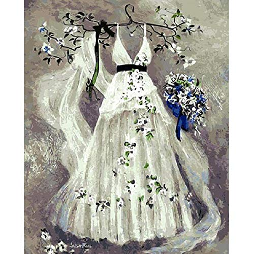 Wooden Adult Puzzle 1000 Pieces DIY Art Puzzle Wedding Dress and Bouquet Leisure Creative Crossword Game Children's Educational Toys ()