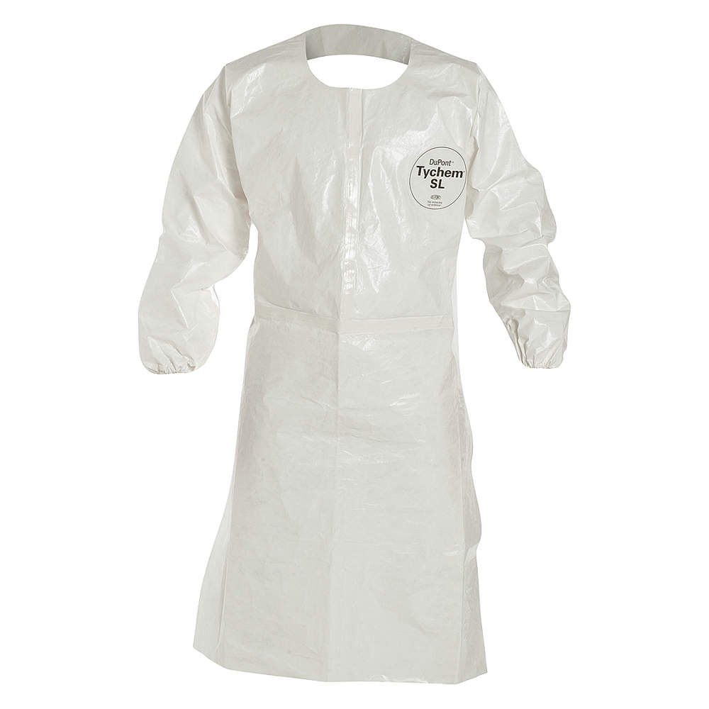 DuPont Tychem 4000 SL275T Disposable Sleeved Chemical Resistant Apron with Elastic Cuff and Taped Seams, White, 4X-Large (Pack of 25)