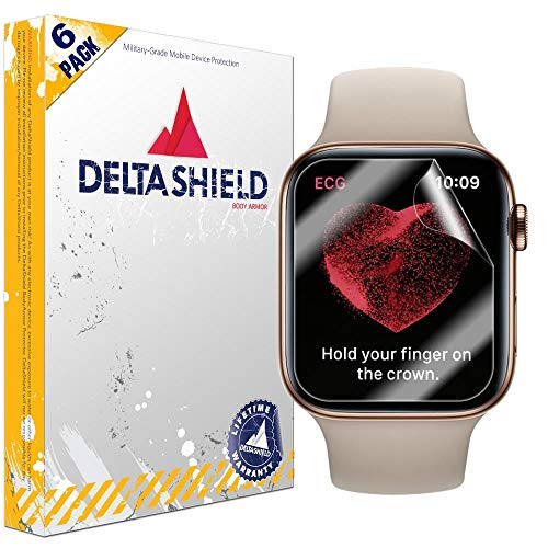 (DeltaShield Screen Protector for Apple Watch Series 4 (44mm)(6-Pack)(EZ Installation) BodyArmor Anti-Bubble Military-Grade Clear TPU Film)
