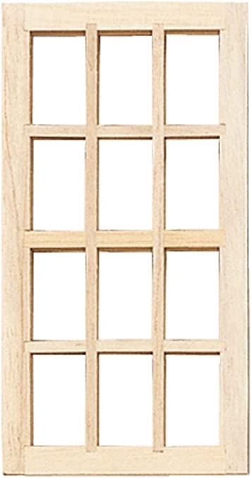 Dollhouse Miniature 1//2 Scale Standard 12-Light Window