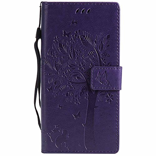 Huawei Mate 10 Pro Case, Embossed Tree Cat Butterfly Pattern PU Leather Wallet Stand Flip Case for Huawei Mate 10 Pro- Purple