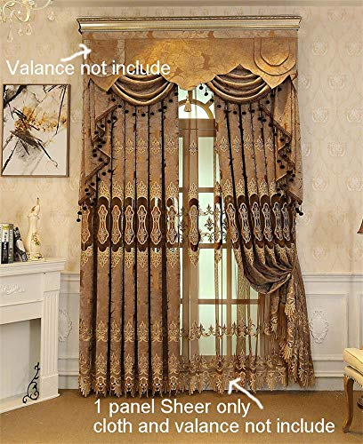 WPKIRA Window Treatments Curtains Sheer Embroidered Elegant Voile Drapes/Curtains for Living Room Velvet Embroidered Sheer Curtain Rod Pocket Luxury Tulle Window Curtain Brown 1 Panel W75 x L84 inch