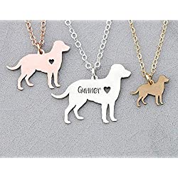 Labrador Retriever Dog Necklace - IBD - Lab - Personalize Name Date - Pendant Size Options - 935 Sterling Silver 14K Rose Gold Filled Charm