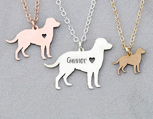 Labrador Retriever Dog Necklace - IBD - Lab - Personalize Name Date - Pendant Size Options - 935 Sterling Silver 14K Rose Gold Filled Charm - Fast 1 Day Production
