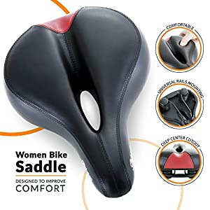 Most Comfortable Bike Seat for Women- Padded Bicycle Saddle with Soft Cushion - Replacement Bike Saddle Improves Riding Comfort on Your Exercise Bike - Women's Bicycle Seat