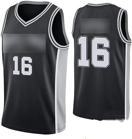 HS-WANG9 San Antonio Spurs # 16 PAU Gasol Juego de Baloncesto Chaleco Deportivo Competición Equipo Uniforme Entrenamiento Traje de Pelota,Negro,L: Amazon.es: Hogar