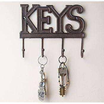 Cast Iron Moose Wall Key Rack Holder 4 Hooks